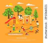 kindergarten poster of kids... | Shutterstock .eps vector #391066021