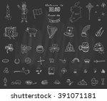 hand drawn doodle ireland set... | Shutterstock .eps vector #391071181