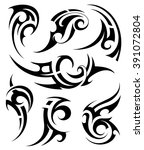 tribal art tattoo set | Shutterstock .eps vector #391072804