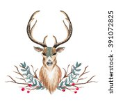 deer with branch berry and... | Shutterstock . vector #391072825