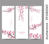 cherry blossom collection  ... | Shutterstock .eps vector #391082065