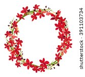 Stock vector red orchid frame floral wreath circle frame isolated vector 391103734
