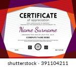 modern certificate triangle... | Shutterstock .eps vector #391104211