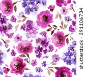 pattern with flowers and plants.... | Shutterstock . vector #391106734