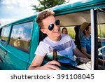teenagers inside an old... | Shutterstock . vector #391108045