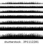 grass borders silhouette on... | Shutterstock .eps vector #391112281