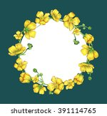 watercolor flower frame  hand... | Shutterstock . vector #391114765