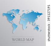 blue world map with 3d effect. | Shutterstock .eps vector #391127191