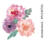 colorful floral collection with ... | Shutterstock . vector #391130761