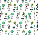 plants seamless pattern.... | Shutterstock .eps vector #391138474