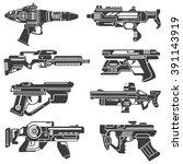 futuristic gun icons set  sci... | Shutterstock .eps vector #391143919