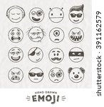 hand drawn set of emoticons.... | Shutterstock .eps vector #391162579