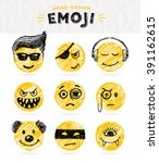 hand drawn set of emoticons.... | Shutterstock .eps vector #391162615