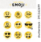 hand drawn set of emoticons.... | Shutterstock .eps vector #391162699