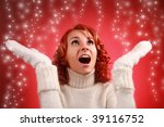 pretty young woman with snow... | Shutterstock . vector #39116752