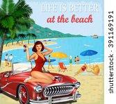 vintage vacation background...   Shutterstock .eps vector #391169191