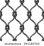 Rope seamless tied fishnet pattern. Vector illustration - stock vector