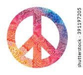 watercolor peace symbol made of ... | Shutterstock .eps vector #391197205