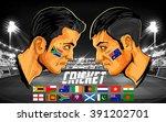 illustration of cricket player... | Shutterstock .eps vector #391202701