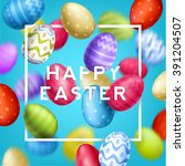 happy easter typographical... | Shutterstock .eps vector #391204507