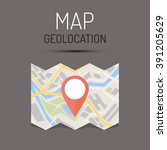 map and geotag. concept of... | Shutterstock .eps vector #391205629