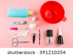 manicure and pedicure set on... | Shutterstock . vector #391210354