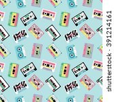 seamless pattern with audio... | Shutterstock .eps vector #391214161