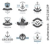 nautical logos templates set.... | Shutterstock .eps vector #391218139
