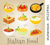 italian traditional food set.... | Shutterstock .eps vector #391219561