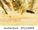 carpenter tools on wooden table ... | Shutterstock . vector #391226809