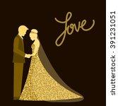 wedding. bride and groom.... | Shutterstock .eps vector #391231051