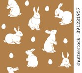 brown rabbit silhouettes logo ... | Shutterstock .eps vector #391231957