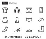 Stock vector clothing vector icons set thin line outline 391234027