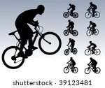bicyclists collection   vector | Shutterstock .eps vector #39123481