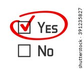 yes no checked with red marker... | Shutterstock .eps vector #391235827