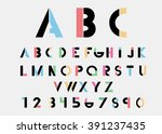 black alphabetic fonts and... | Shutterstock .eps vector #391237435