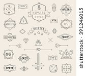 set hipster icons  logo  badge  ... | Shutterstock .eps vector #391246015