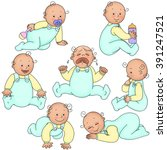children set with babies... | Shutterstock .eps vector #391247521