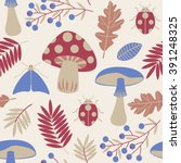 seamless pattern with leaves ... | Shutterstock .eps vector #391248325