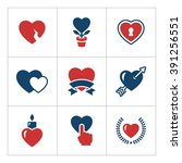 set color icons of heart... | Shutterstock . vector #391256551