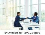 business people handshake in... | Shutterstock . vector #391264891