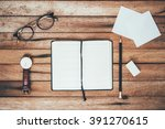 woman hands holding pencil and... | Shutterstock . vector #391270615
