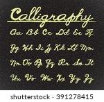 calligraphy font alphabet set.... | Shutterstock .eps vector #391278415