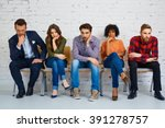 stressful students waiting for... | Shutterstock . vector #391278757
