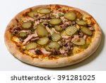 one pizza on a white background