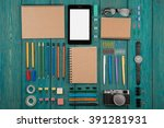 workplace with tablet pc ... | Shutterstock . vector #391281931
