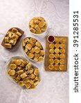 mixed brazilian snack on the... | Shutterstock . vector #391285531