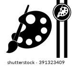 pallete and paintbrush   black... | Shutterstock .eps vector #391323409
