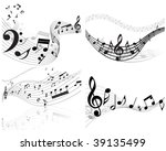 musical notes staff background...   Shutterstock . vector #39135499