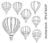 sketched flying hot air... | Shutterstock .eps vector #391376029
